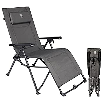 EVER ADVANCED Zero Gravity Lounge Chair Portable Folding Reclining Chair with Carry Bag and Adjustable Cushion Recliner Camping Chair for Outdoor Indoor Support 300lbs Black