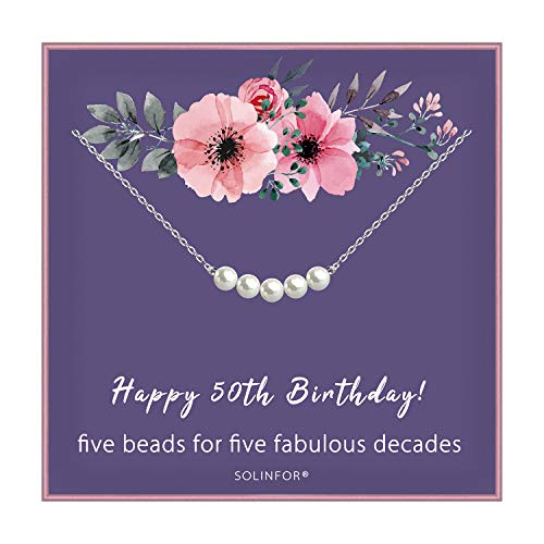 50th Birthday Gifts for Women - Sterling Silver Necklace Five Pearls for Her 5 Decades - 50 Years Old Jewelry Gift Idea