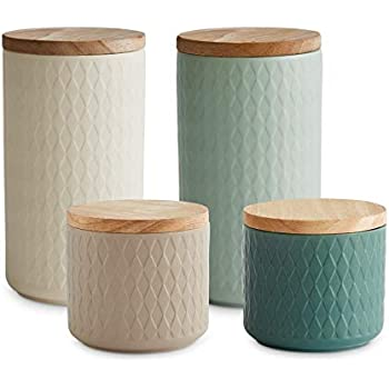 Keramik Vorratsdosen 4 tlg. Set mit Holzdeckel Mint, Luftdichter Kautschukholz Deckel, Aufbewahrungsdosen, Frischhaltedosen Creme, Sand, Hellgrün,