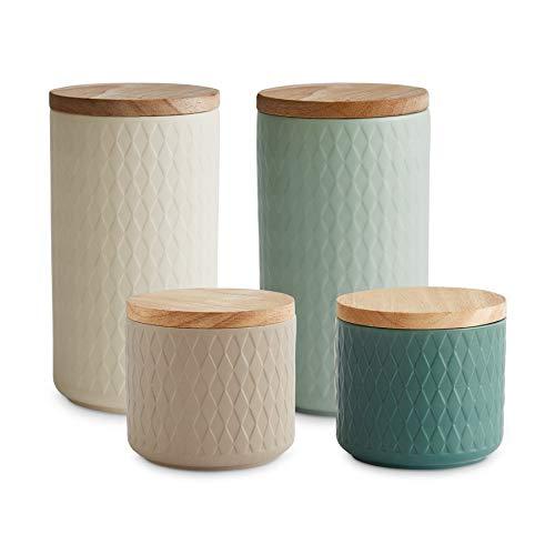 Keramik Vorratsdosen 4-tlg. Set mit Holzdeckel Mint, Kautschukholz-Deckel, Aufbewahrungsdosen, Frischhaltedosen - Creme, Sand, Hellgrün, Dunkelgrün