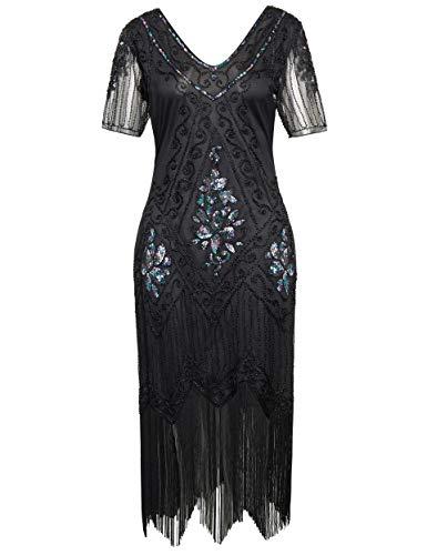 ArtiDeco 1920s Kleid Damen Flapper Kleid mit Kurzem Ärmel Gatsby Motto Party Damen Kostüm Kleid (Schwarz Bunt, XL)
