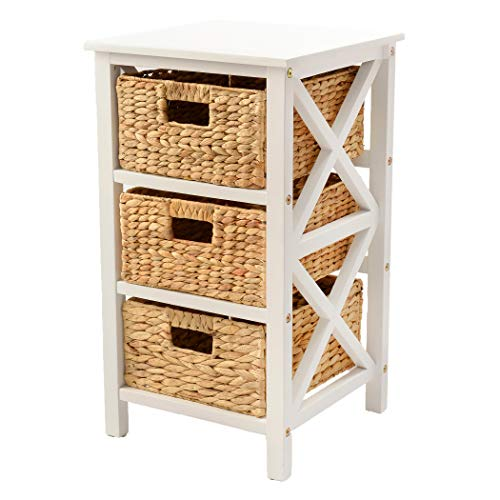 eHemco 3 Tier X-Side End Table/Cabinet Storage with 3 Baskets, -