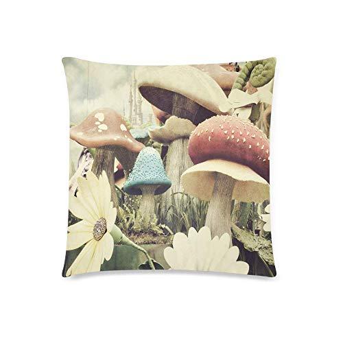QUEMIN Funda de cojín con diseño de Setas y Flores de jardín de Grunge, Funda de Almohada con Cremallera, Funda de Almohada, decoración del hogar, 18x18 Pulgadas