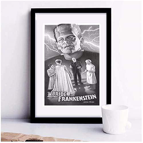 Qqwer La Novia De Frankenstein Carteles E Impresiones Vintage Decoración Del Hogar Pintura De Lienzo Grande Cuadro De Arte De Pared-50X70Cmx1Pcs -Sin Marco