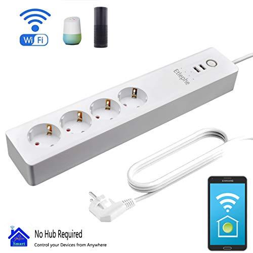 Smart Steckdosenleiste Fernbedienung, Etlephe Intelligente WLAN Mehrfachsteckdose Wifi Steckdosen mit 4 AC-Ausgänge, 2 USB-Anschlüsse, mit App Fernsteuerung Sprachsteuerung Google Home IFTTT