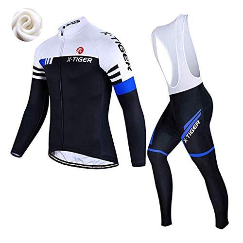 X-TIGER da Ciclismo Maglietta Manica Corta da Uomo + 5D Gel Pantaloncini Corti Imbottiti con pettorina Set di Abbigliamento Ciclista (Blu e Bianco Inverno Maglia+Pettorina Pantalone, L (CN)= M(EU))