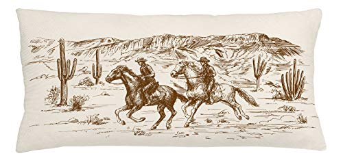 Lunarable Western Throw Pillow Cushion Cover, Country Theme Hand Drawn Illustration of American Wild West Desert with Cowboys, Decorative Rectangle Accent Pillow Case, 36' X 16', Umber Cream