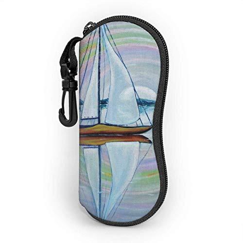 Nigel Tomm Série de peinture à l'huile, étui de lunettes de peinture de mer de l'aube protège et stocke des lunettes de soleil, convient aux hommes, aux femmes et aux enfants