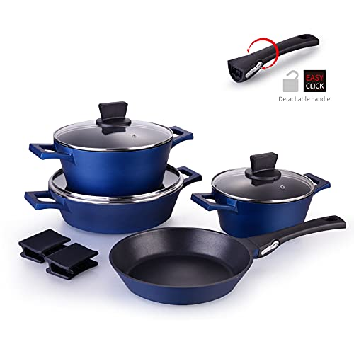 MGUOGUO Nonstick Pots and Pans 10 Piece Cookware Set Blue Stackable Induction Soup Pot with...