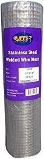 """MTB SS304 Stainless Steel Welded Wire Mesh 24"""" x 25' - 1/2 inch x 1/2 inch (1.2mm) 18GA (Also Sold in 10' Length,36"""