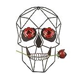 Larber Metal Decoración Pared Arte Moderna Rosa Calavera Escultura Decoracion, para Salon Colgar Dormitorio Baño Sala Bar Estudio Pasillo Decoración,25.5 x 35.5 cm