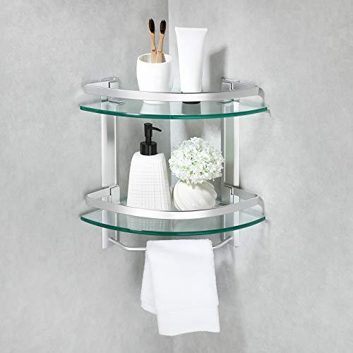 Amazon Brand - Umi Eckregal Glasregal Duschablage Ecke 8mm Dusche Glas Ablage Badezimmer Regal Duschregal 2 Abalgen mit Handtuchhalter Wandmontage Aluminium Silber, A4123B