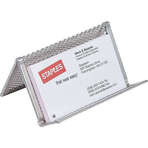 of staples order business cards Staples 939829 Silver Steel Mesh Business Card Holder 2-Inch H x 4 1/4-Inch W x 2 3/4-Inch D