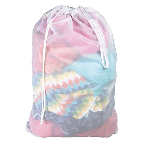 mDesign Saco para ropa sucia – Práctica bolsa para la colada de tejido de red transpirable – Para ropa húmeda y seca – Duradera bolsa de lavado para la lavadora – Bolsa de ropa para viajes – blanco
