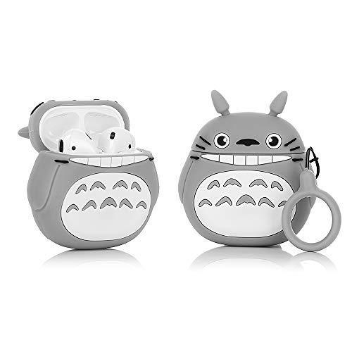YIGEYI Funda de Silicona Compatible con Airpods 1 y 2 Case Cover Divertida de Dibujos Animados en 3D[Serie de Animación 3D GQJ] (Smile Totoro)