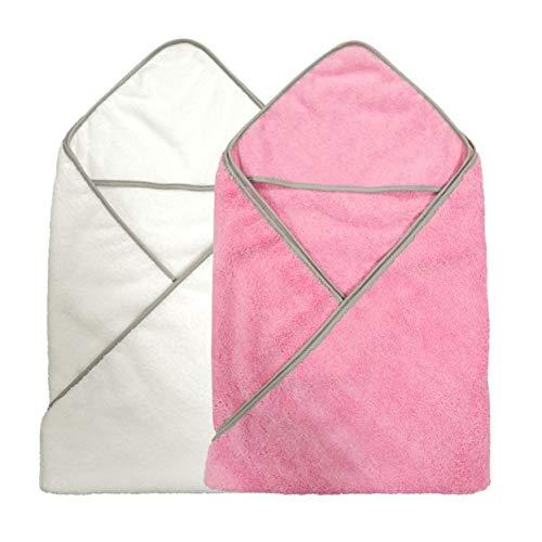 Polyte - Asciugamano a per Neonato con Cappuccio - in Microfibra ipoallergenica Premium - Rosa/Bianco - 91,4 x 91,4 cm - 2 Pezzi