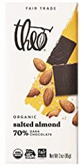 """SHIPS WITH COOL PACKS FOR WARM WEATHER: Includes 12 individually wrapped 3 ounce Theo Chocolate Salted Almond 70% Dark Chocolate Bars that will ship with cool packs if you are located in a warm weather area when you see """"Ships from and sold by Theo C..."""