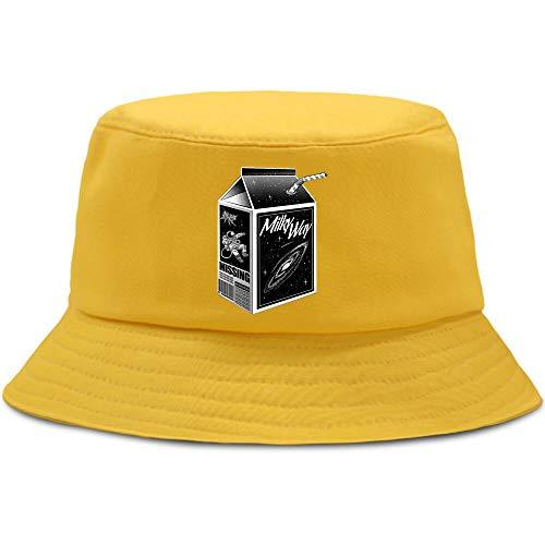 JXMK 56-58cm Packaging Universe Theme Milk Bat Sombrero para el Sol Unisex Casual Sombrero de Pescador Moda algodón Sombrero de Cubo Sombrero para el Sol al Aire Libre Sombrero de Pesca
