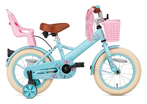 POPAL SuperSuper Little Miss Kinder Fahrrad für Kinder | Fahrrad Mädchen 14 Zoll ab 3-5 Jahre| Kinderrad met Stützrädern | Rad mit Korb und Puppensitz |Turquoise