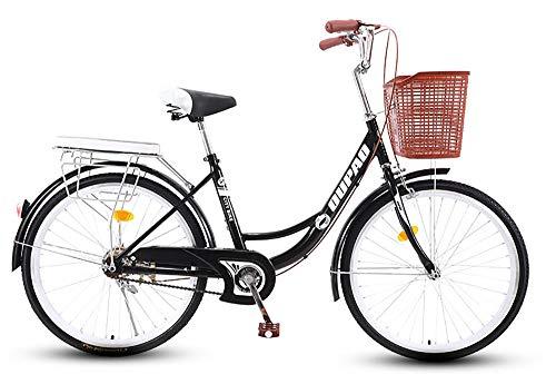 TaoRan Frauenfahrrad, Aluminium-Stadtfahrrad, holländisches Retro-Fahrrad mit Korb, geeignet für männliche und weibliche Studenten-(Schwarz)_(20 Zoll)