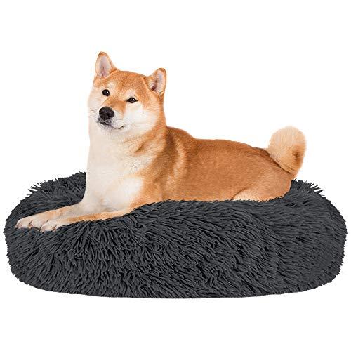 Nasjac Cama calmante para Mascotas, Nido de Mimbre para Donuts Cojín de Felpa Suave y cálido para Perros con Esponja acogedora Parte Inferior Antideslizante para Mascotas (XL(80Cm), Gris Oscuro)