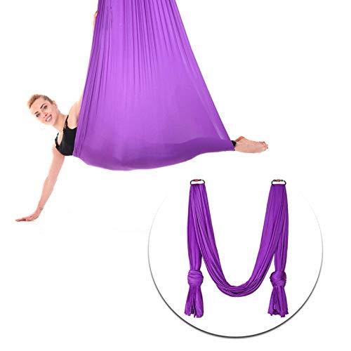 Meiyya Columpio de Yoga aéreo, Columpio de Hamaca de Yoga Hamaca de Yoga elástica 2.8x1m / 9.2x3.3ft para Entrenamiento de Yoga para Entrenamiento de Postura(Morado Oscuro, 12)