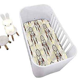 Native American Crib Fitted Sheet,Dreamcatchers Boho Breathable Cozy Baby Sheet for Standard Crib and Toddler mattresses Nursery Bedding Sheet Crib Mattress Sheets for Boys and Girls,28″ x 52″