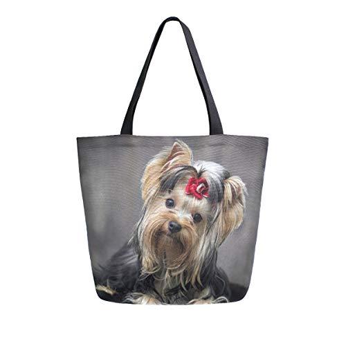 Mnsruu, borsa a tracolla in tela, con manico da donna, borsa a tracolla per la spesa, stile Yorkshire Terrier, stile casual, da spiaggia, multifunzione, per donna