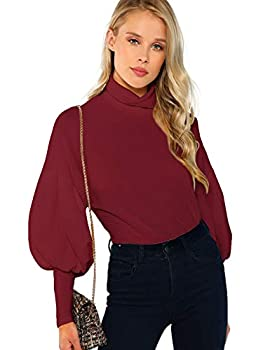 Romwe Women s Casual High Neck Pullover Tops Long Sleeve Sweatshirt Burgundy M