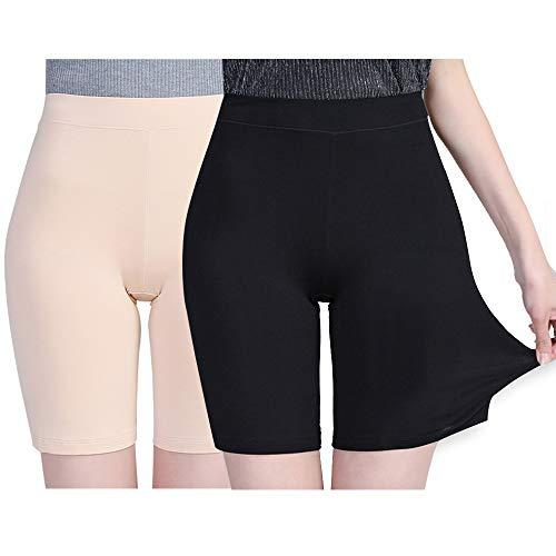 Damen Panties Hose, Lange Frauen Panties,Miederhose Hose Unter Rock Unterhosen (Beige+schwarz-2, one Size)