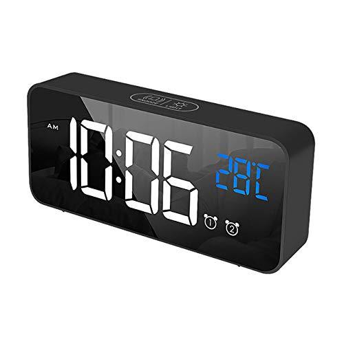 LKU wekker hoofdslaapkamer woonkamer oplaadbare muziekklok op bed LED-spiegel wekker geluid geactiveerd klok, zwart
