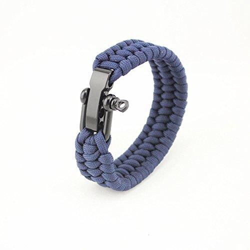 ACHICOO - Pulsera de Cuerda de Supervivencia para Acampar al Aire Libre Senderismo con Hebilla de grillete de Acero, Productos al Aire Libre, Azul Marino 23 cm.
