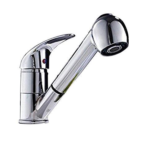 MEOW MARKET シャワー水栓 シャワーノズル シャワーヘッド 混合水栓 混合栓 水洗金具 部品 交換 リフォーム 蛇口 キッチン 洗面台 台所 伸縮 高水圧 取り付けホースセット シルバー