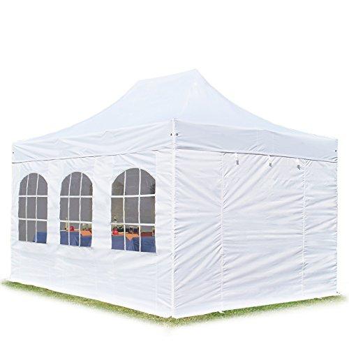 TOOLPORT Faltpavillon Faltzelt Premium NEO 3x4,5m - mit Fenstern ALU Pavillon Partyzelt Dach 100% WASSERDICHT weiß