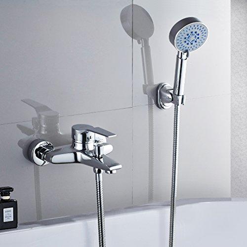 Badewannenarmatur mit Handbrause, BONADE Chrom Wannenarmatur Badewanne Wasserhahn inkl. Wandhalterung und 150 cm Brauseschlauch für Badezimmer Dusche