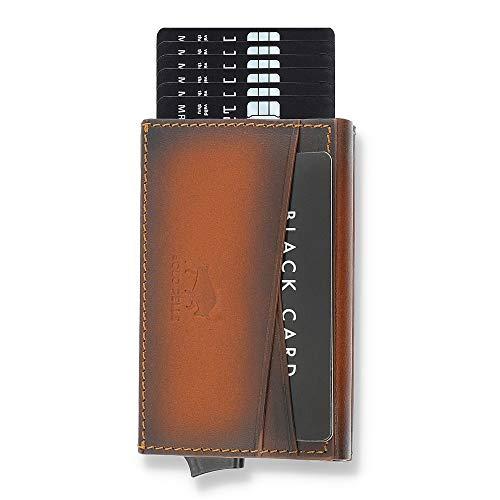 Solo Pelle Kartenetui | Kreditkartenetui | Leder Geldbörse Slim Wallet Portmonee | Geldbeutel mit RFID Schutz für bis zu 8 Karten Model: Mech (Cognac Braun Burned mit Kleingeldfach)