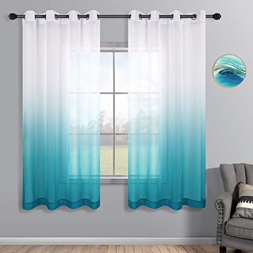Teal Curtains 63 Inch Length for Bedroom Set of 2 Panels Grommet Window Sheer Coastal Ombre Ocean Curtains for Girls Room Living Room 52x63 Inches Long Sea Teal and White