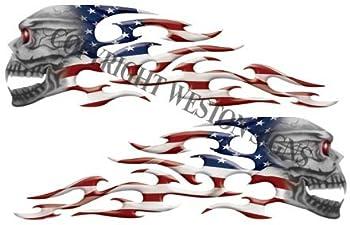 Weston Signs American Flag Motorcycle Gas Tank Tribal Skull Flames