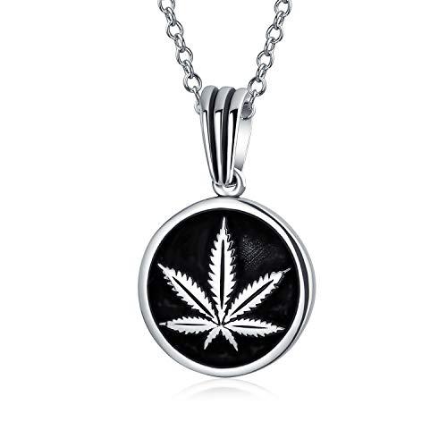 Unisex Cannabis Weed joyería marihuana hoja medallón redondo colgante collar para las mujeres 925 plata de ley con cadena