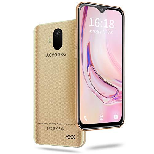 AOYODKG Smartphone ohne Vertrag Günstig - Waterdrop 5,5 Zoll Android 9.0 (Go) Handy 3GB + 32GB, 4G DUAL SIM Handy, Quad-Core 5MP + 8MP Dual Rückkamera, GPS, Global Version, Gold