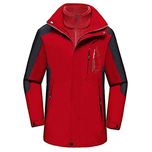 Anaisy Herren 3 In 1 Freiensportwasserdichter Hardshell Im Schnee Skijacke Mantel Jungen Atmungsaktiv Schnelltrockend Jacken Outerwear (Color : Rot, Size : L)