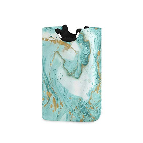 vvfelixl Green Marble Texture Laundry Basket|Laundry Hamper W/Handles|Drawstring Waterproof Oxford Cloth Storage Basket for Dorm Room, Shower Room, Bathroom, Bedroom, Nursery Or Rv