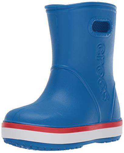 Crocs Kids' Crocband Rain Boots, Bright Cobalt/Flame, 11 Little Kid