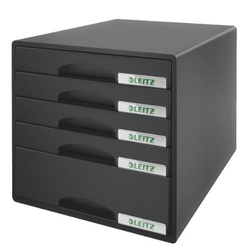 Leitz 52110095 Plus Schubladenbox, 5 Schubladen, Polystyrol, schwarz
