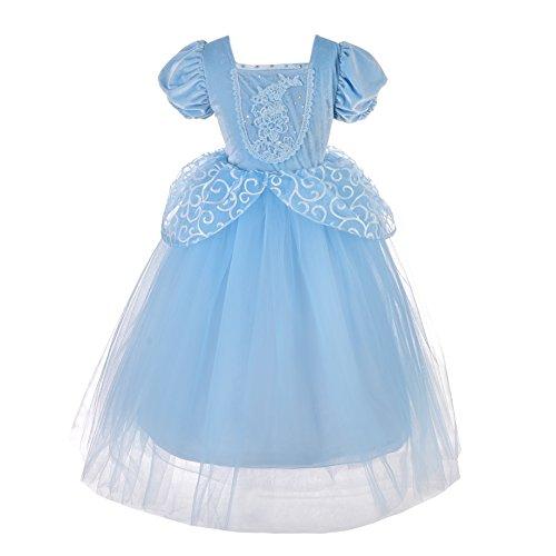 Lito Angels Deguisement Robe Costume Princesse Cendrillon Enfant Fille, Anniversaire Fete Carnaval, Taille 8-9 ans, Bleu