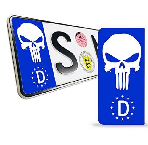 Skino 2 x vinyl sticker nummerplaat kenteken JDM Tuning Auto Motorfiets Punisher Blue Skull Scädel doodskop Stickers EU QV 35