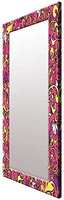 999STORE Wood Pattern Mirror (1 x 18 x 48 inch, Multicolour)