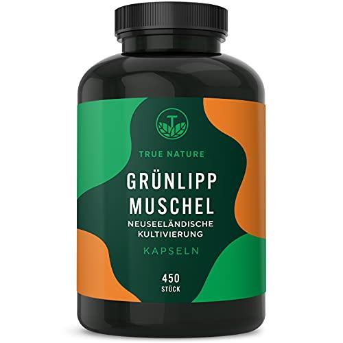 Grünlippmuschel - 450 Kapseln (500mg) - Hochdosiert mit 2000mg pro Tagesdosis - Ohne jegliche Zusatzstoffe - Kultiviert in Neuseeland - Laborgeprüft - Deutsche Produktion - TRUE NATURE®