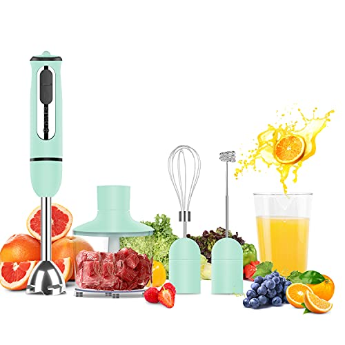 Immersion Hand Blender, ISILER 5-in-1 500-Watt Multi-Purpose Stick Blender with 860ml Food Chopper, 600ml Container, Milk Frother, Egg Whisk, 8-Speed for Puree Infant Food Smoothies Soups