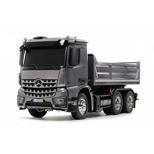 TAMIYA 300056357 MB Arocs Mercedes-Benz 1:14 RC 3348 Hinterkipper 3Achs, Unlackiert